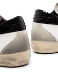 Golden Goose - White Super-star Sneakers With Black Heel Tab And Metal Stud Lettering - Lyst
