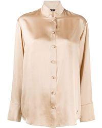 Balmain Oversized Camel Satin Shirt - Natural