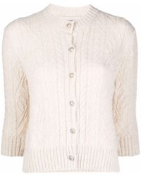 Ermanno Scervino White Cashmere Short-sleeved Cashmere Cardigan