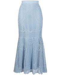 Alexander McQueen Crochet High-waisted Flared Skirt - Blue