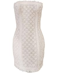 Balmain Bouclé Dress With Crystal Decoration - White