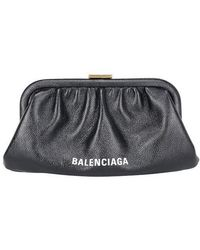 Balenciaga - Cloud Xs Black Leather Clutch - Lyst