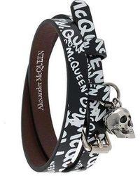 Alexander McQueen Graffiti Double-wrap Bracelet - Black