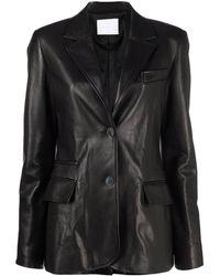 DROMe Black Single-breasted Leather Blazer