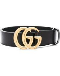 Gucci Cintura GG Marmont in pelle con fibbia lucida - Nero