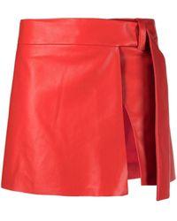 DROMe Slit-detail Short Skirt - Red