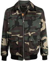 Philipp Plein Camouflage-print Bomber Jacket - Green