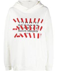 Maison Margiela - White Oversized Hooded Sweatshirt With Tape Print - Lyst