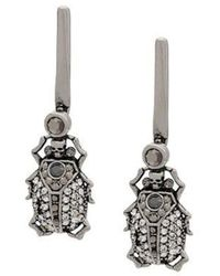 Alexander McQueen Beetle Drop Earrings - Metallic