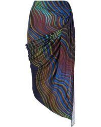 Mugler Abstract-print Asymmetric Skirt - Black