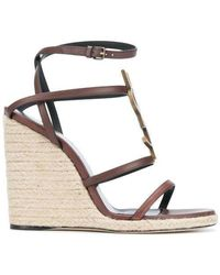 Saint Laurent - Cassandra Wedge Espadrilles With Brown Logo In Leather - Lyst