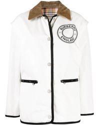 Burberry Detachable Sleeve Reversible White Logo Graphic Jacket