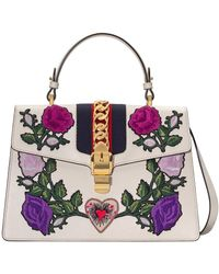 Gucci | Sylvie Embroidered Medium Top Handle Bag | Lyst