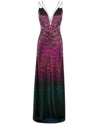 Saloni Tiger Print Ombre Gown - Purple