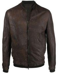 Salvatore Santoro Rib-trimmed Leather Jacket - Brown