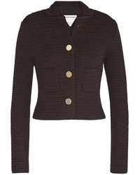 Bottega Veneta Brown Jacket In Compact Cotton Mesh
