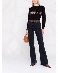 Alberta Ferretti - Black Bohemian Life Intarsia-knit Cashmere Oversized Sweater - Lyst
