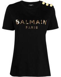 Balmain T-shirt nera in cotone con logo - Nero