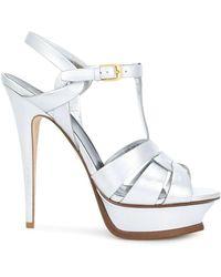 Saint Laurent Tribute Platform Sandals In Metallic Leather