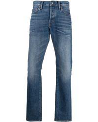 Tom Ford Jeans dritti in cotone blu con applicazione
