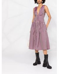 Philosophy Di Lorenzo Serafini Check-print V-neck Sleeveless Dress - Pink
