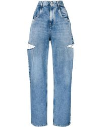 Maison Margiela Denim Jeans With Slash Details - Blue