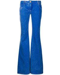 Balmain High-waisted Flared Blue Jeans With B Monogram