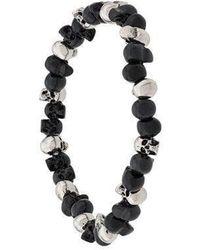 Alexander McQueen Beaded Skull Bracelet - Black