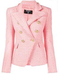 Balmain Blazer rosa doppiopetto in tweed