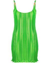 Versace Green Pleated Mini Dress