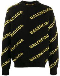 Balenciaga Allover Logo Crewneck - Black