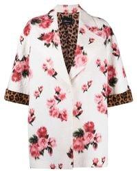 Blumarine White Silk And Cotton Blend Rose Print Jacket