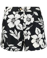 Tom Ford Black Floral-print Swim Shorts