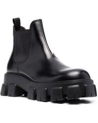 Prada Black Monolith Brushed Leather Chelsea Boots