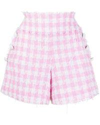 Balmain Pantaloncini in tweed tartan bianco e rosa chiaro a vita alta