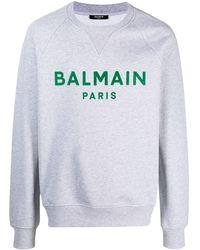 Balmain Cotton Sweatshirt With Paris Logo - Gray