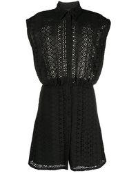 FEDERICA TOSI Black Broderie Anglaise Sleeveless Dress