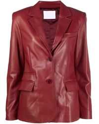 DROMe Red Single-breasted Leather Blazer