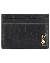 Saint Laurent Tiny Monogram Card Case In Crocodile Embossed Matte Leather - Black