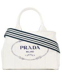 Prada White Small Cotton Canvas Tote Bag