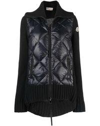 Moncler - Zipper Wool Cardigan With High Collar - Lyst