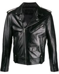 Givenchy Logo Biker Leather Jacket - Black