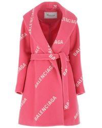 Balenciaga Pink Wool Blend Coat With Printed Logo