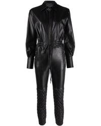 Ermanno Scervino Black Faux-leather Quilted Jumpsuit
