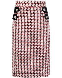 Amen Tweed Midi Skirt - Multicolour
