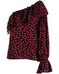Saint Laurent Black And Red One-sleeve Polka-dot Silk Blouse