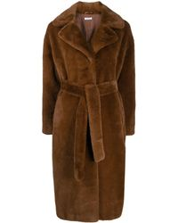 P.A.R.O.S.H. Shearling Long-length Coat - Brown