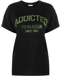 P.A.R.O.S.H. Slogan-print Cotton T-shirt - Black