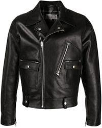 Maison Margiela Notched-lapel Black Leather Jacket