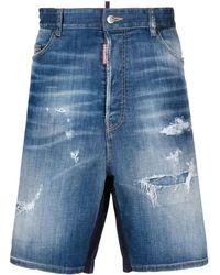 DSquared² Knee-length Blue Denim Bermuda Shorts